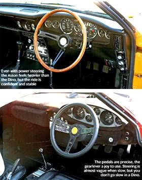 Persuasion of Aston Martin DBS vs Ferrari Dino Interior